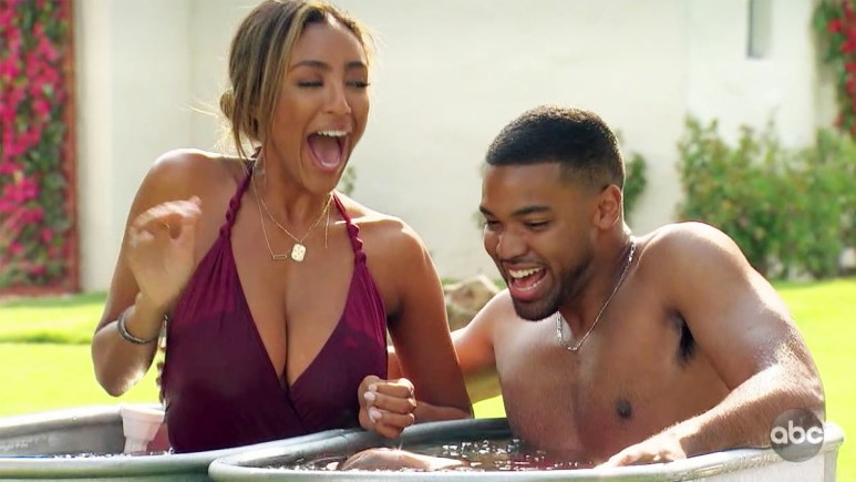 The Bachelorette Tayshia Adams in cold ice bucket with Ivan on fantasy suite date