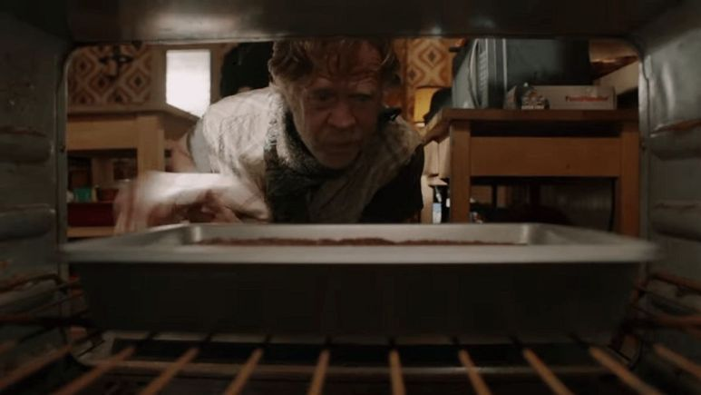 Frank examines his pot brownies on Shameless