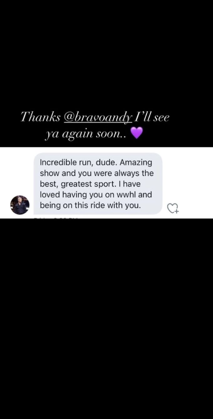 screenshot of Instagram message from Andy Cohen to Jax Taylor