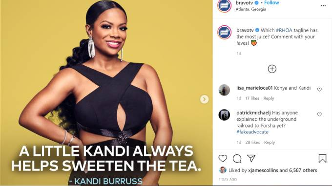 Kandi Burruss poses as her tagline is revealed in the foreground.