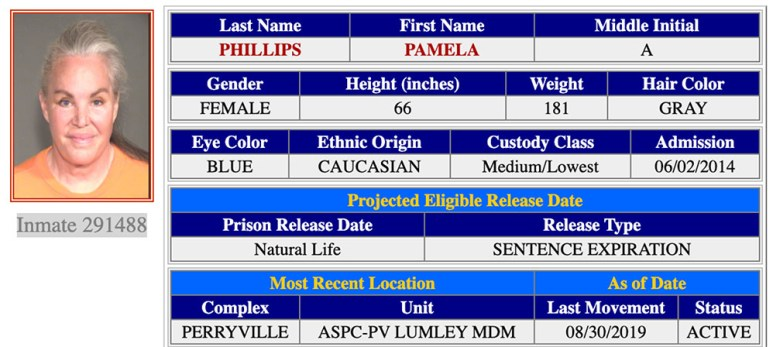 Screen shot of Pam Phillips inmate record