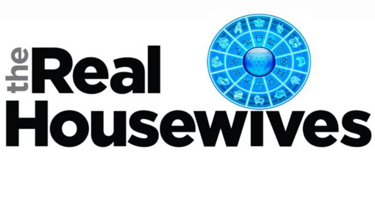 "The Real Housewives logo with an astrology wheel over the ""i."""