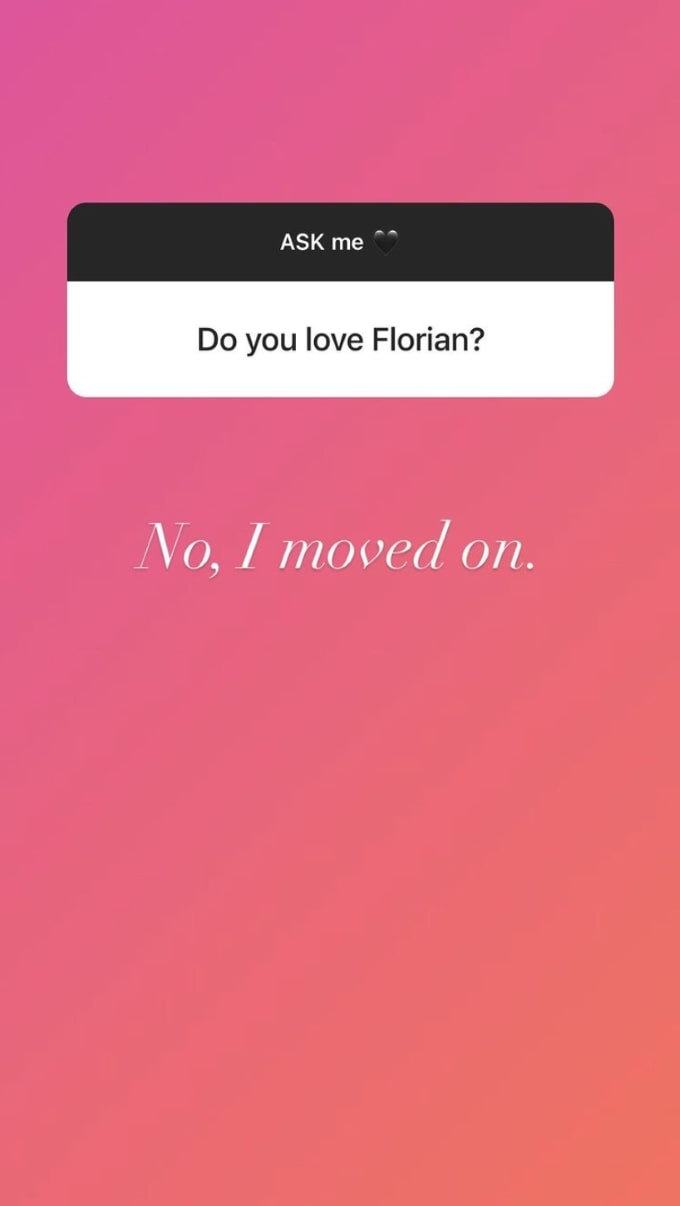 screenshot from Instagram Q&A with Florian Sukaj's mistress Shanti Zohra