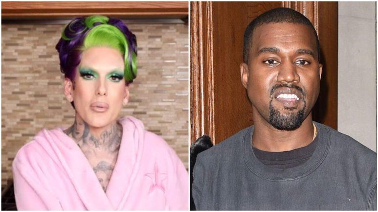 Jeffree Star on his YouTube channel and Kanye West on the red carpet