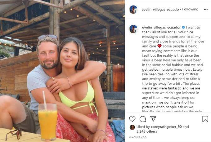 screenshot of Evelin's post to Instagram.