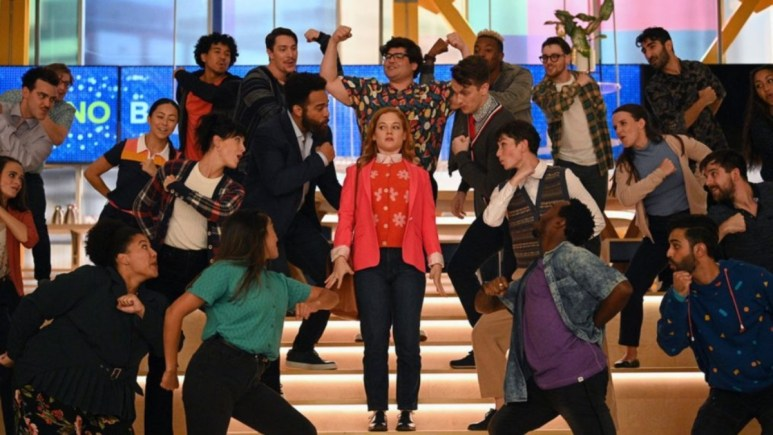 """ZOEY'S EXTRAORDINARY PLAYLIST -- """"Zoey's Extraordinary Return"""" Episode 201 -- Pictured:(l-r) John Clarence Stewart as Simon, Jane Levy as Zoey Clarke, Harvey Guillen as George, Michael Thomas Grant as Leif -- (Photo by: Sergei Bachlakov/NBC/Lionsgate"""