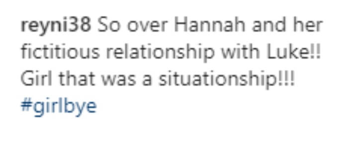A fan doesn't feel that Luke and Hannah ever had an actual relationship