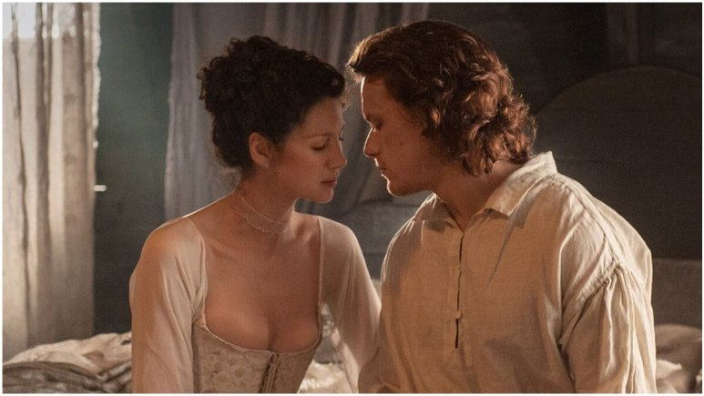 Caitriona Balfe as Claire and Sam Heughan as Jamie, as seen in Starz's Outlander