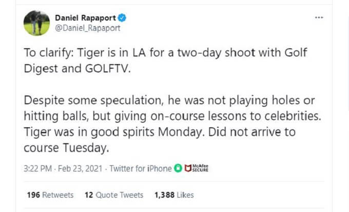 Screenshot explaining where Tiger Woods was headed prior to his accident.
