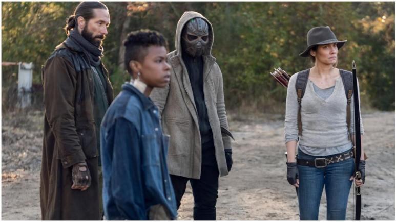 James Devoti as Cole, Angel Theory as Kelly, Okea Eme-Akwari as Elijah, as Lauren Cohan as Maggie, as seen in Episode 17 of AMC's The Walking Dead Season 10C