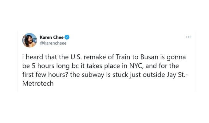 Screenshot of Karen Chee's tweet.