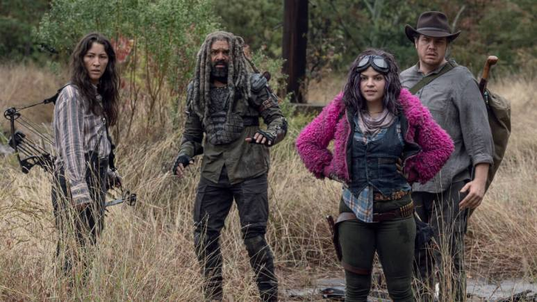 Khary Payton as Ezekiel, Eleanor Matsuura as Yumiko, Josh McDermitt as Dr. Eugene Porter, Paola Lazaro as Princess, as seen in Episode 15 of AMC's The Walking Dead Season 10B