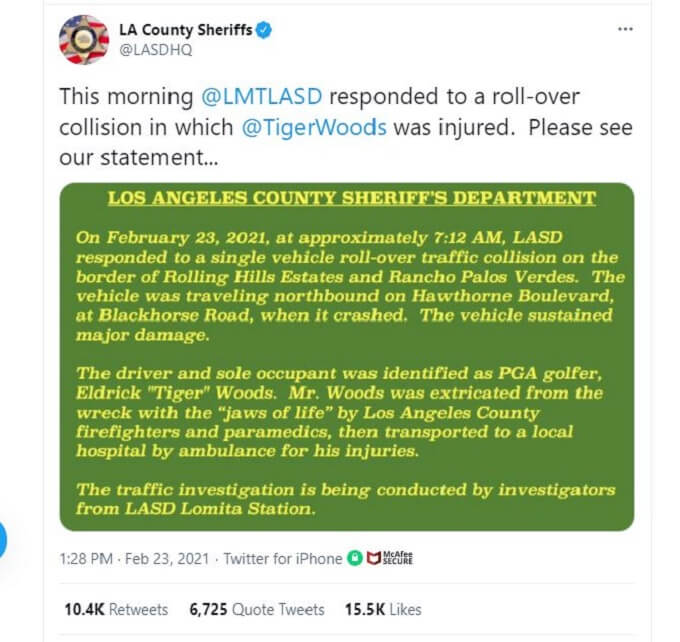 Screenshot of LA County Sheriffs' Tweet about Tiger Woods' accident.