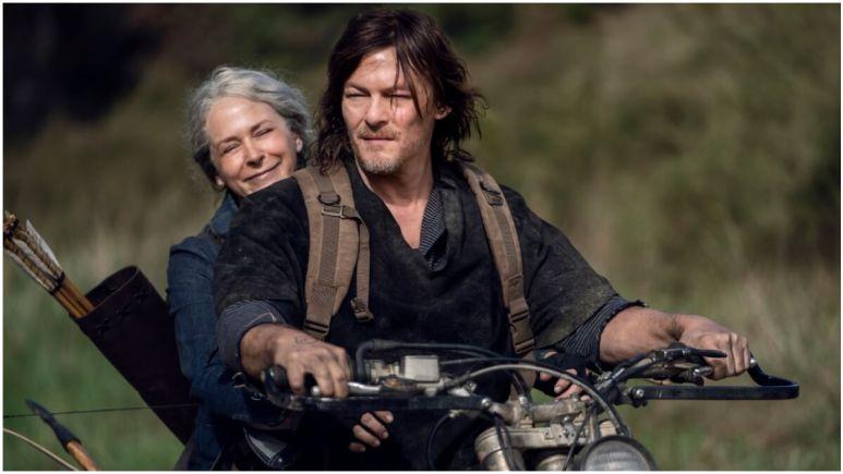 Norman Reedus as Daryl Dixon and Melissa McBride as Carol Peletier, as seen in Season 10C of The Walking Dead.