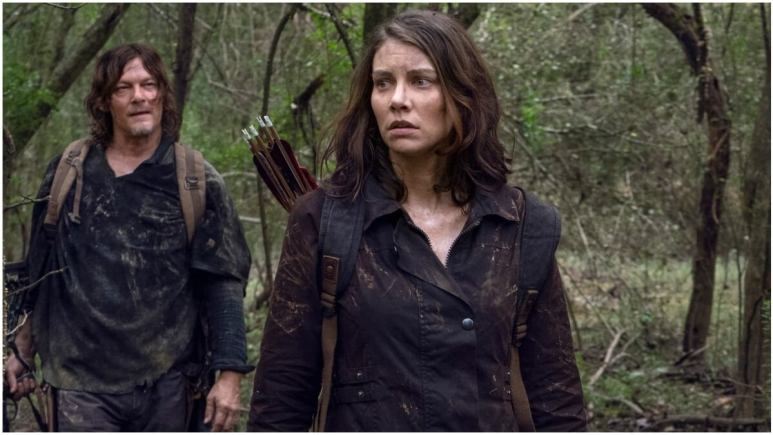 Norman Reedus as Daryl Dixon and Lauren Cohan as Maggie Rhee, as they appear in Episode 17 of AMC's The Walking Dead Season 10C