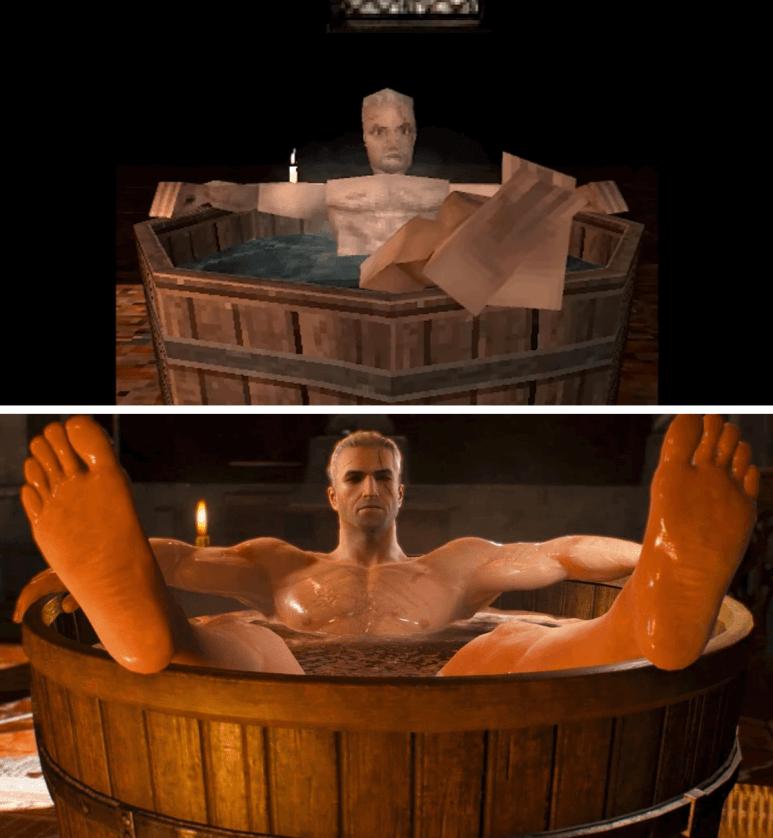 computer renders of Geralt of Rivia in a bathtub