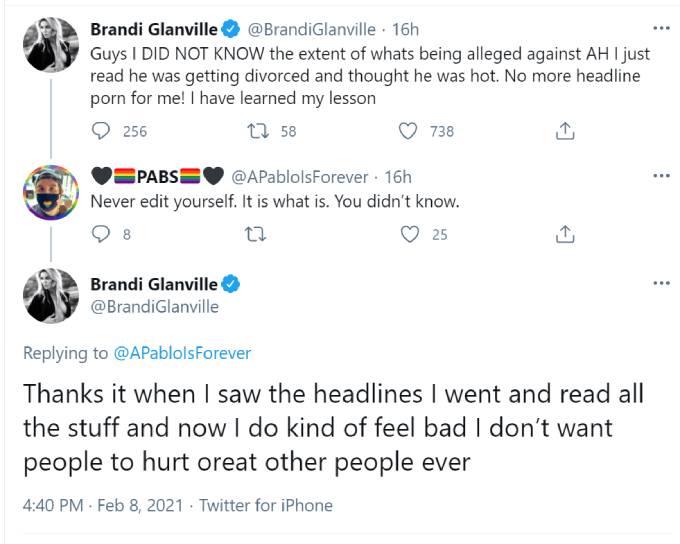 RHOBH alum Brandi Glanville takes back flirtatious Armie Hammer tweet