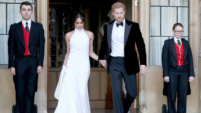 Prince Harry and Meghan Markle just after being wed