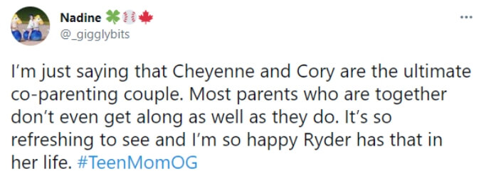 A fan praises Cory and Cheyenne's relationship