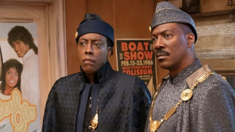 Arsenio Hall and Eddie Murphy in Coming 2 America.