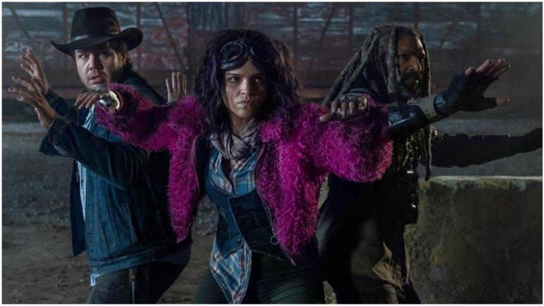 Josh McDermitt as Dr Eugene Porter, Paola Lazaro as Princess, and Khary Payton as Ezekiel, as seen in Episode 20 of AMC's The Walking Dead Season 10C