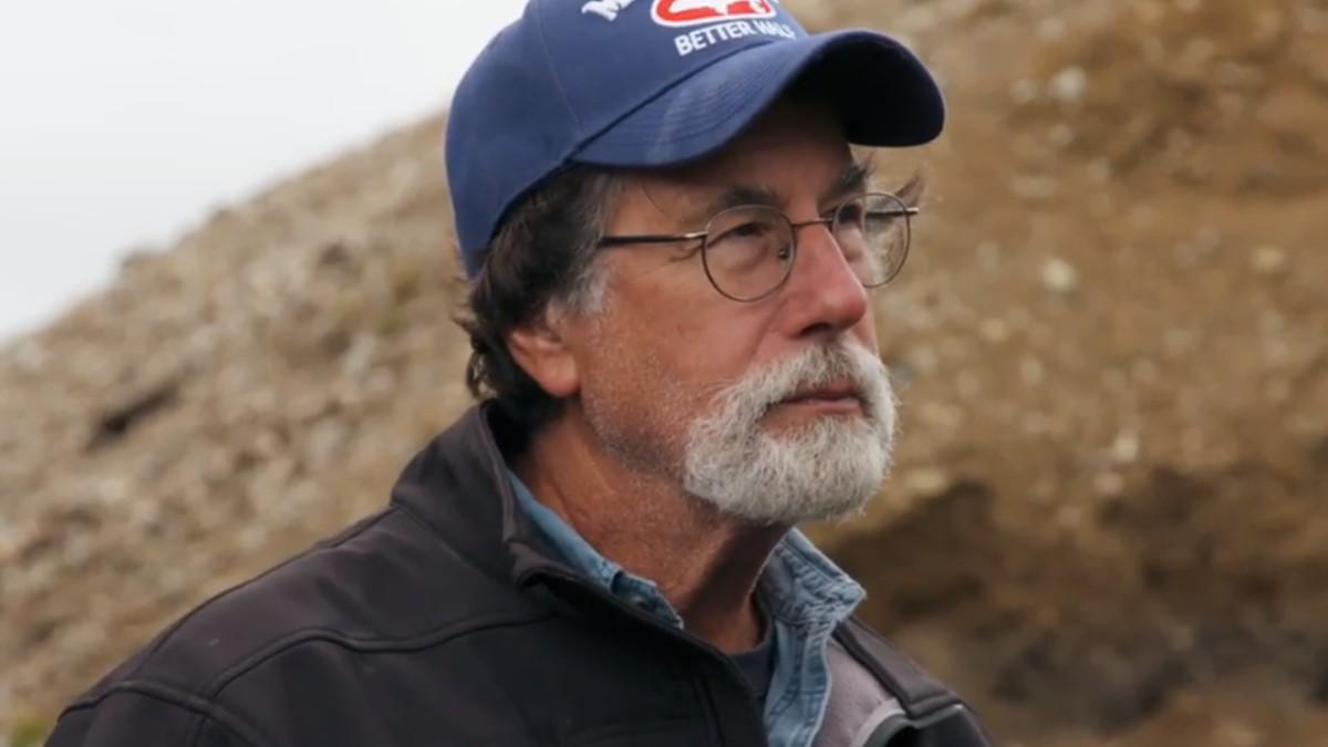 Rick Lagina at the stone roadway