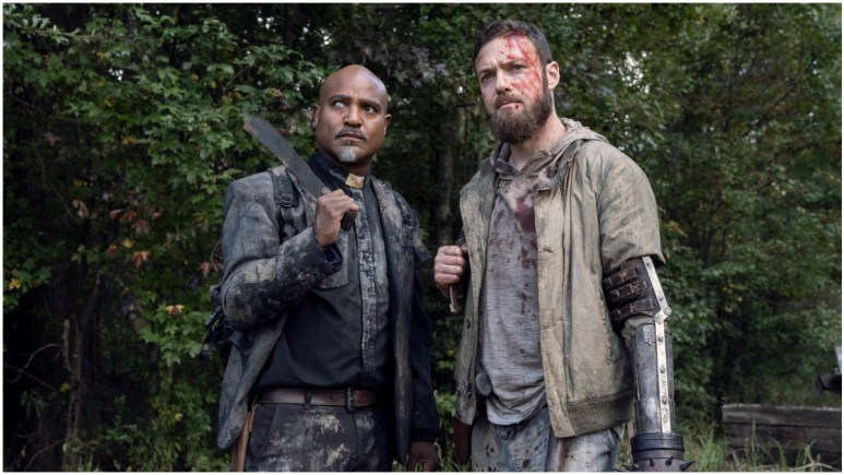 Seth Gilliam as Father Gabriel and Ross Marquand as Aaron, as seen in Episode 19 of AMC's The Walking Dead Season 10C