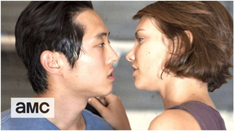Steven Yeun as Glenn Rhee and Lauren Cohan as Maggie Green, as seen in Season 2 of AMC's The Walking Dead
