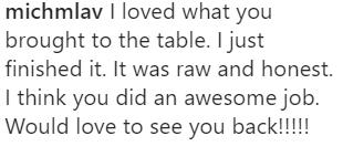 Fan comments The Bachelor, AFTR.