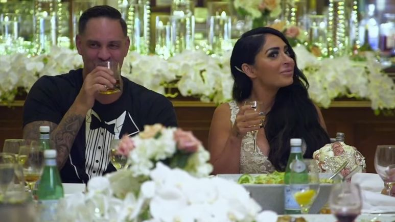 Angelina Pivarnick and Chris Larangeira during an episode of Jersey Shore Family Vacation