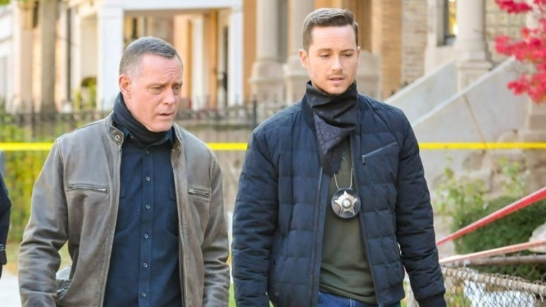 Jason Beghe and Jesse Soffer on the set of Chicago PD