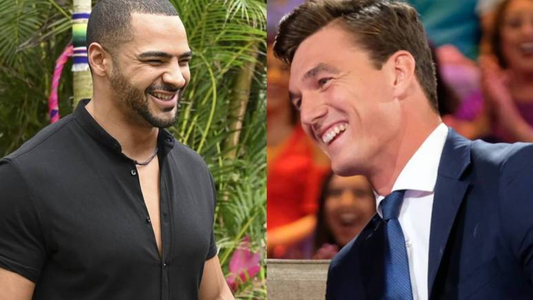 Clay Harbor and Tyler Cameron filming for The Bachelor franchise.