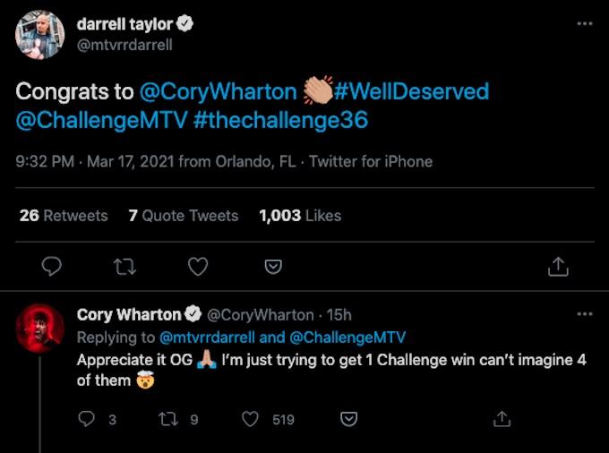 darrell taylor tweeted congrats to cory wharton