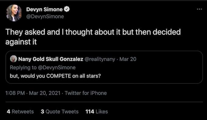 devyn simone tweet reply to fan about all stars season