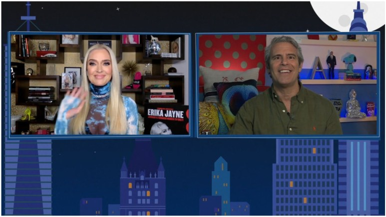 Erika Jayne and Andy Cohen on WWHL.