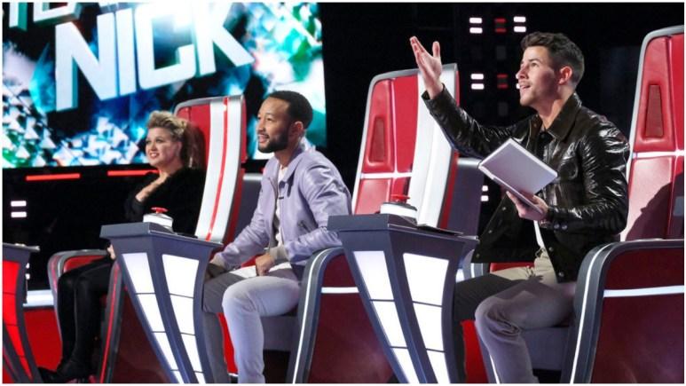 Nick Jonas, John Legend and Kelly Clarkson on The Voice.