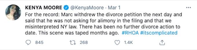 Kenya Moore's tweet
