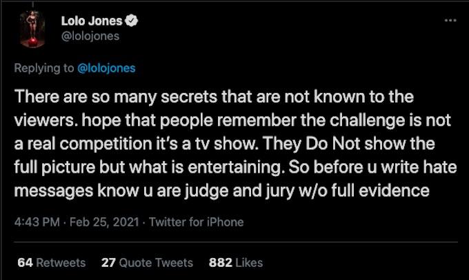 lolo jones tweets after the challenge exit