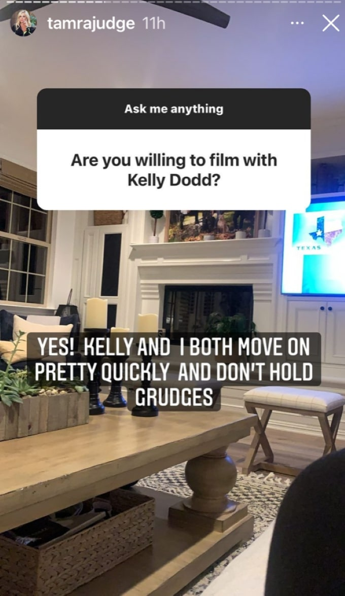 Screenshot from Tamra Judge's Q&A on Instagram.