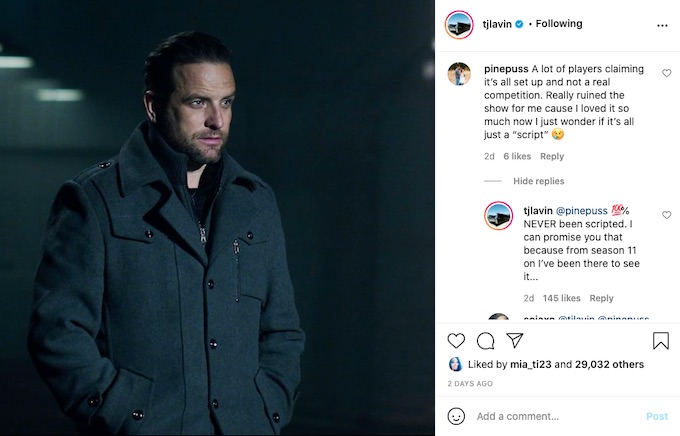 the challenge host TJ Lavin on Instagram reply