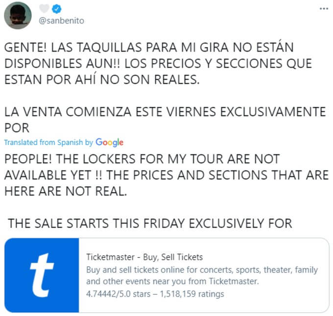 Bad Bunny tweets about ticket price rumors