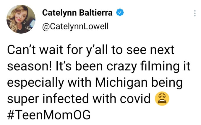 Catelynn Baltierra of Teen Mom OG on Twitter
