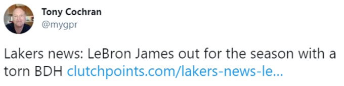 James out for the season retweet