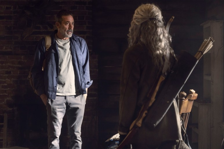 Jeffrey Dean Morgan as Negan and Melissa McBride as Carol, as seen in Episode 22 of AMC's The Walking Dead Season 10C