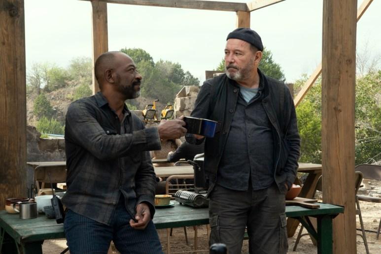 Lennie James as Morgan and Ruben Blades as Daniel Salazar, as seen in Episode 10 of AMC's Fear the Walking Dead Season 6