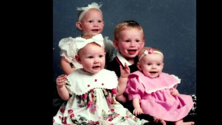 Logan, Aspyn, Mariah and Madison Brown of Sister Wives as babies