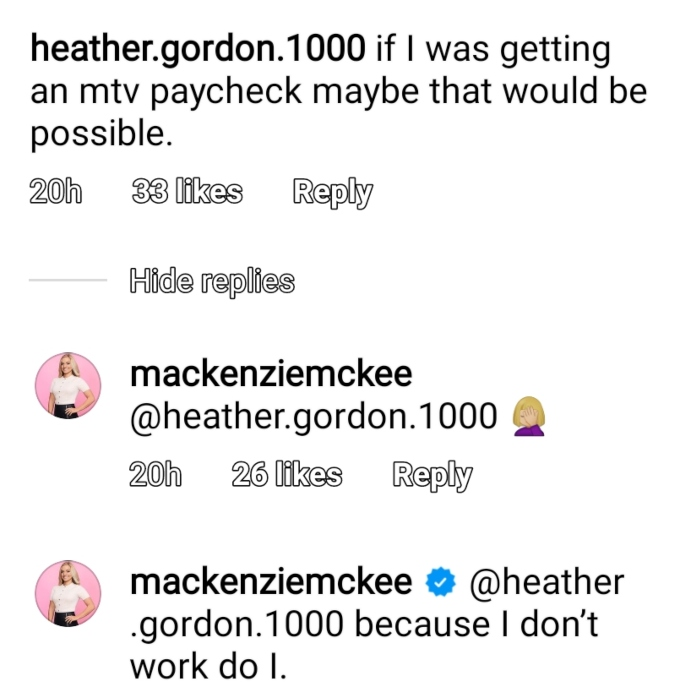 Mackenzie McKee of Teen Mom OG on Instagram