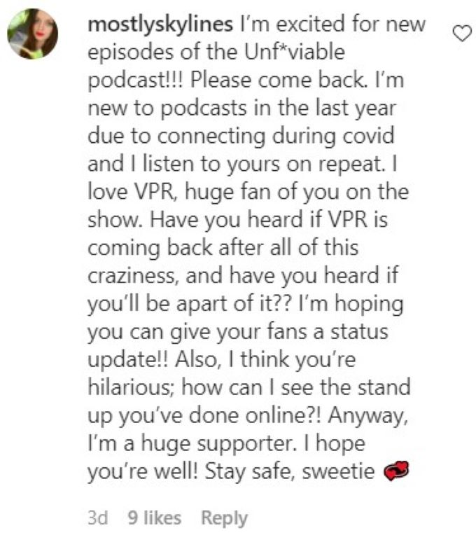 Fan questioning if Dayna will return to Vanderpump Rules.