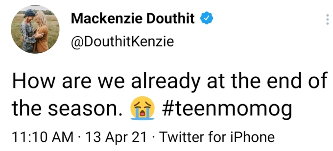 Mackenzie McKee of Teen Mom OG on Twitter