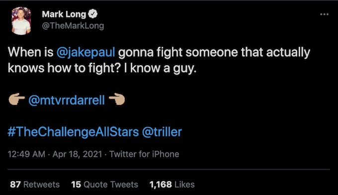 the challenge mark long tweets about jake paul opponent